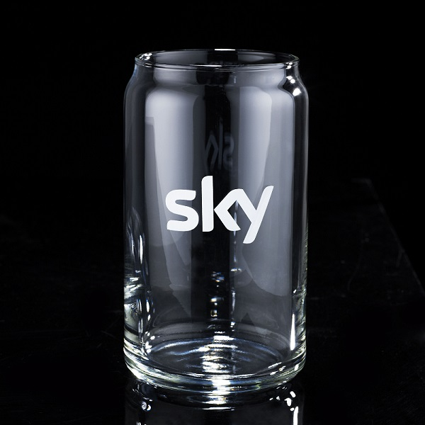 Can shaped drinking glass bulk packed